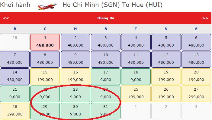 Vé máy bay khuyến mãi đi Huế 9k cho ngày 8-3 tuyệt vời