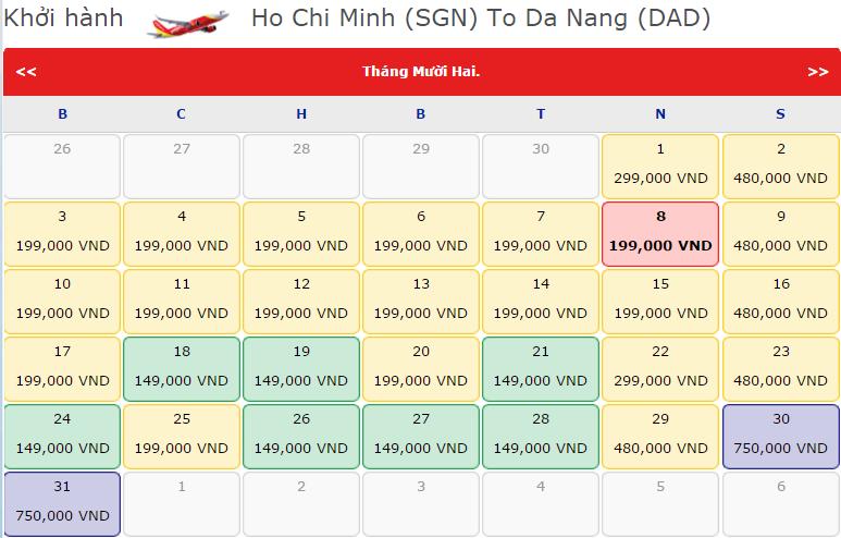 Bảng giá vé máy bay đi Đà Nẵng