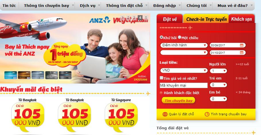 Check in trực tuyến Vietjet Air