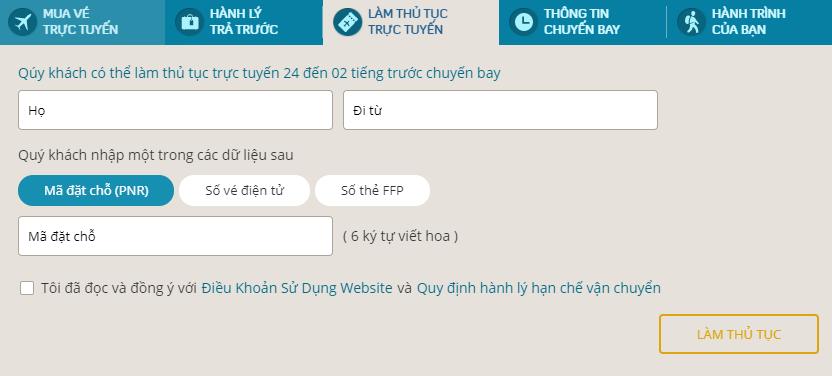Hướng dẫn check in trực tuyến Vietnam Airlines